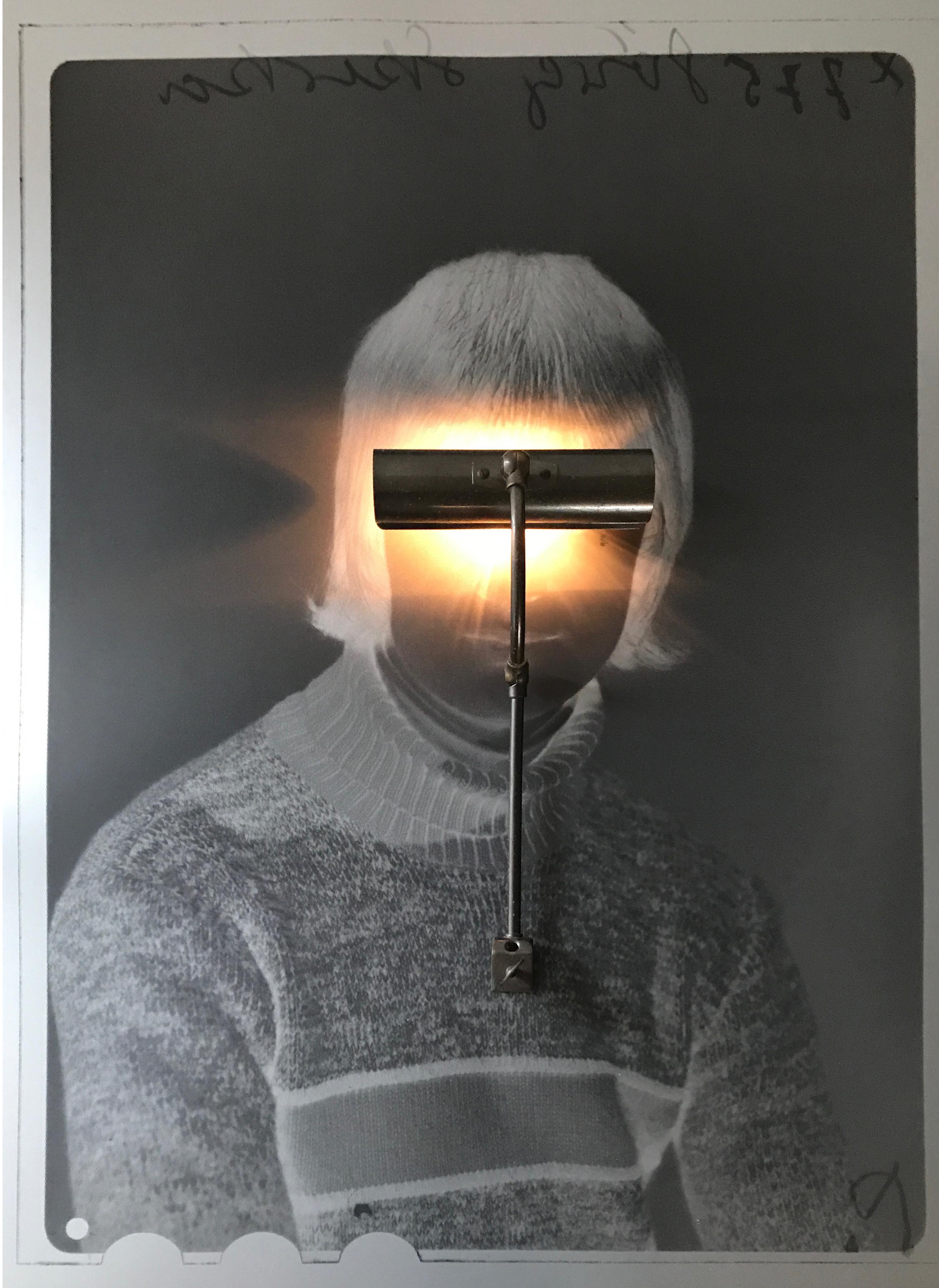 """Ohne Titel (Negative Boy with lamp)"